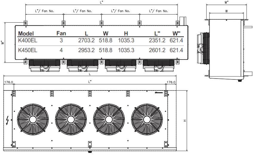 чертеж воздухоохладителя K400EL и K450EL KD
