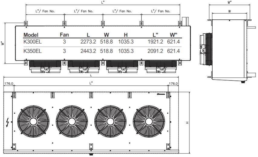 чертеж воздухоохладителя K300EL и K350EL KD