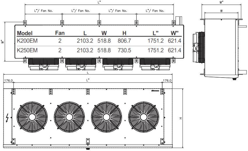 чертеж воздухоохладителя K200EL и K250EL KD