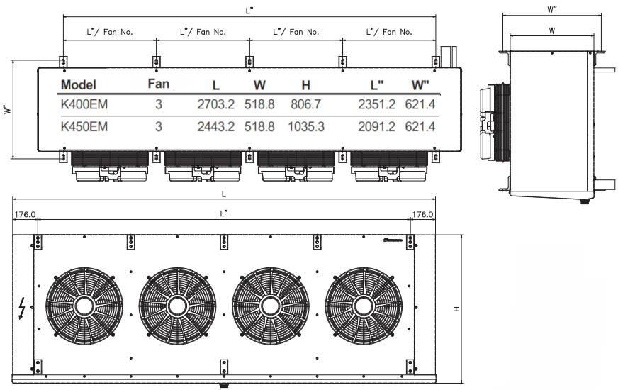 чертеж воздухоохладителя K400EM и K450EM KD