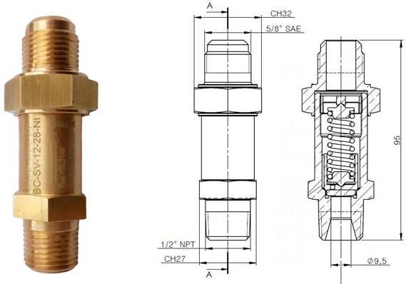 Предохранительный клапан BC-SV-12-28N чертеж