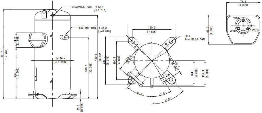 размеры компрессора Panasonic Sanyo C-SBN523H8D