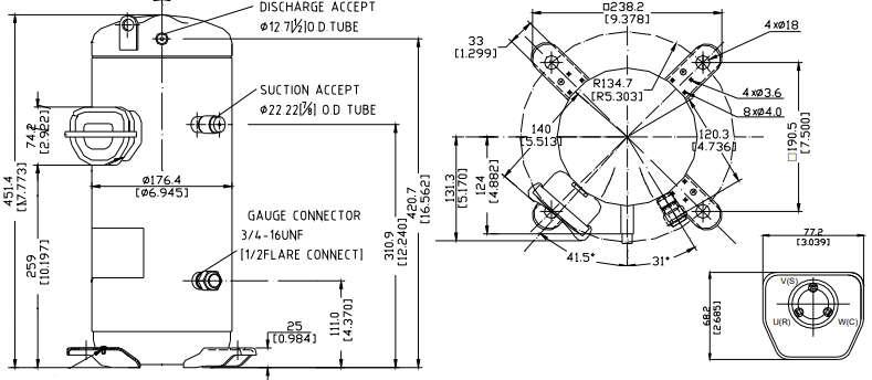 размеры компрессора Panasonic Sanyo C-SBN523H8H